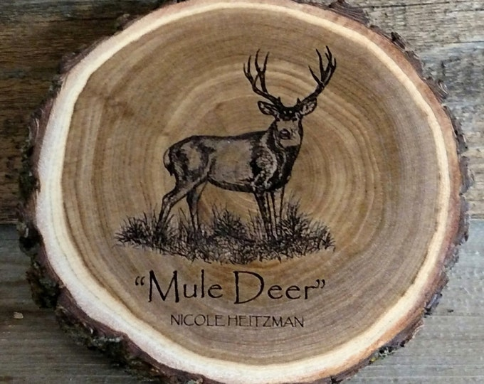 Mule deer art engraved wood coaster art Father's Day Gift for men dad Deer Coaster Deer Art Man Cave Wildlife art Decor Cabin Lodge Decor