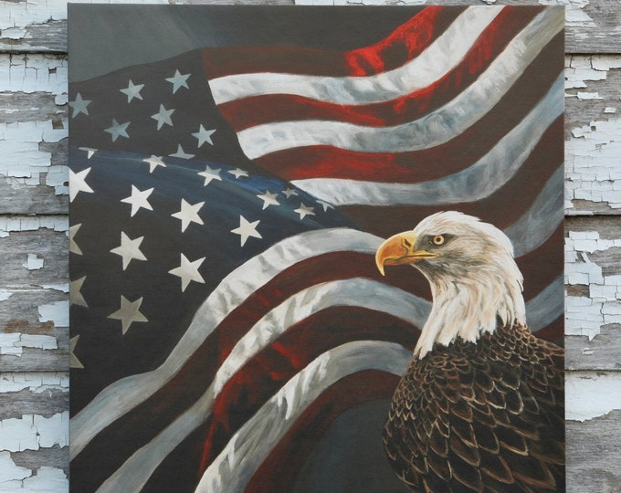 Eagle art Boundless Territory Flag Patriotic USA painting America Gift for soldier men women Wildlife Art Metal Art Print Nicole Heitzman
