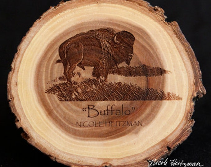 Christmas Father's Day Gift for him Buffalo Art Buffalo Coasters Wildlife Art Lodge Man Cave Decor Bison Wood Coasters by Nicole Heitzman