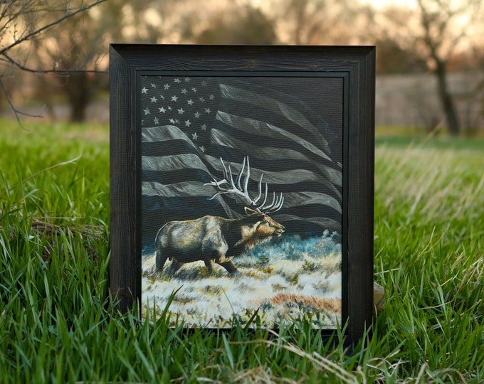 Freedom bull elk print painting USA art American Flag Elk Hunting Limited Edition Canvas Giclee Art print Nicole Heitzman