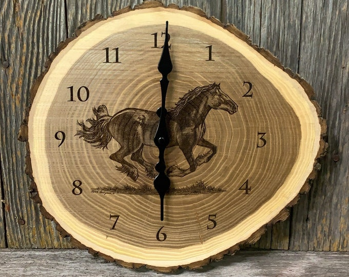 Running Horse clock Art Engraved Wood Clock Horse Western art gift for Dad men farmer rancher farming Art farmhouse decor Horse lover gift