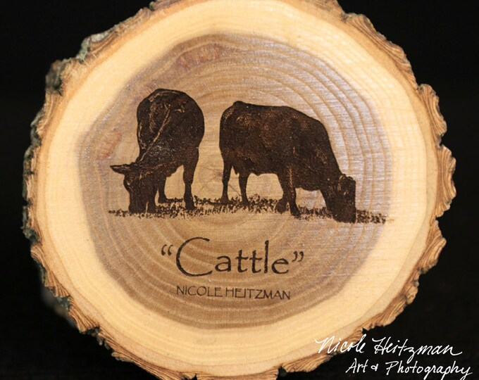 Cattle Coasters engraved Wood Art Cattle Art Angus Art Father's Day Gift for Dad men Farmer Man Cave Decor Farmhouse livestock Wood Coasters