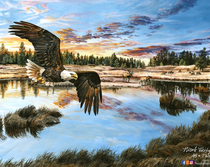 Boundless Territory Eagle art painting Wildlife Art Elk art painting by South Dakota Artist Nicole Heitzman 24x36 Gallery Wrap Canvas Print