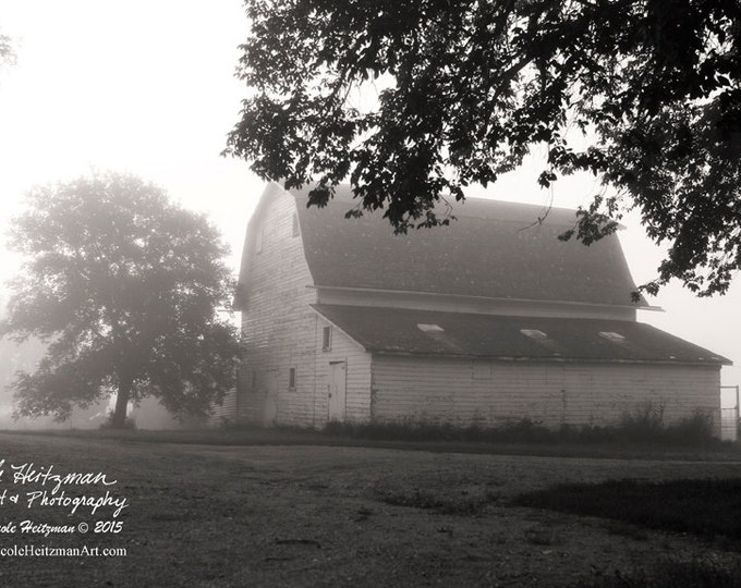 White Barn Photo Old Barn Photography Gift for Dad Black and White Photography Monochromatic Barnwood Farm Metal Print by Nicole Heitzman