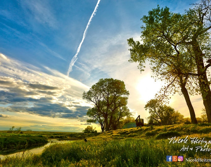 Sunset Photography Metal print Scenic Photo Spring scenery Summer HDR Photography Cottonwood trees Turkey Hunting Photo by Nicole Heitzman