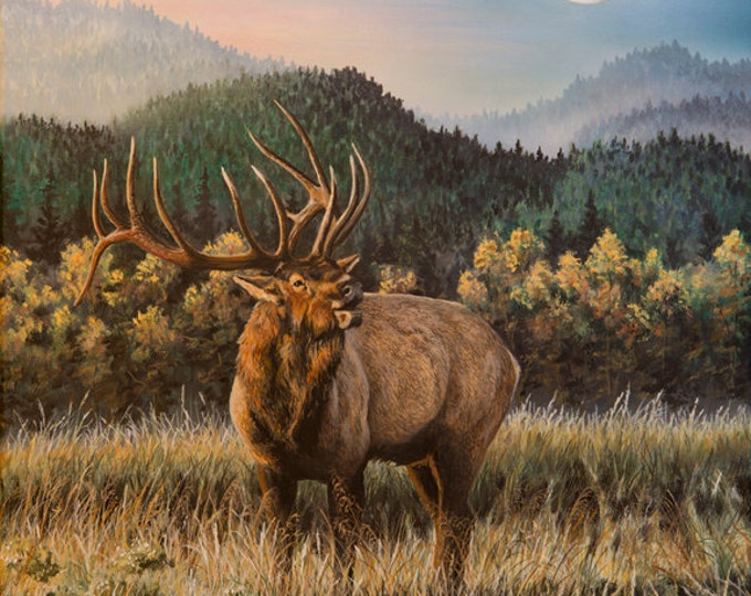 Last Call Elk Print Elk Art Elk Painting Gift for Men  Elk Hunting Moon Art Acrylic Painting Limited Edition Canvas print by Nicole Heitzman