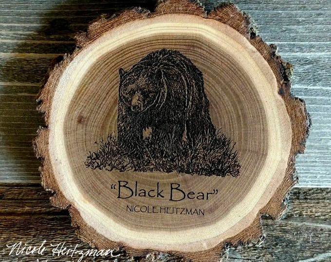 Black Bear Wood Coaster Bear Art Father's Day Gift for men Dad Wooden Coaster Christmas Gifts Man cave Decor Lodge Decor by Nicole Heitzman