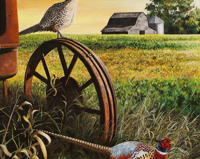 On the lookout Luster Art print Pheasant Print Painting Hunting print Father's Day Gift for men Dad Farm print Wildlife Art Nicole Heitzman