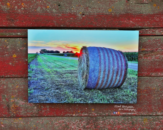 America USA Bale patriotic country life farming  baling Red white and blue South Dakota sunset photography by Nicole Heitzman