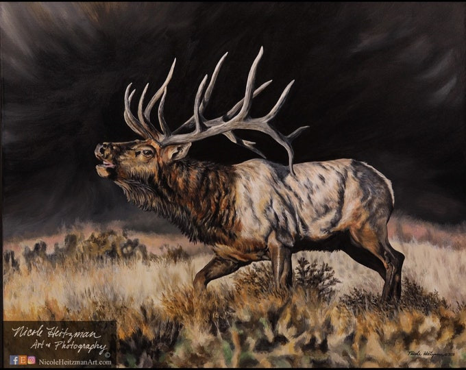 September Storm bull elk print painting Father's Day gift for Dad Elk Hunting Scene Lodge Cabin Limited Edition Canvas print Nicole Heitzman