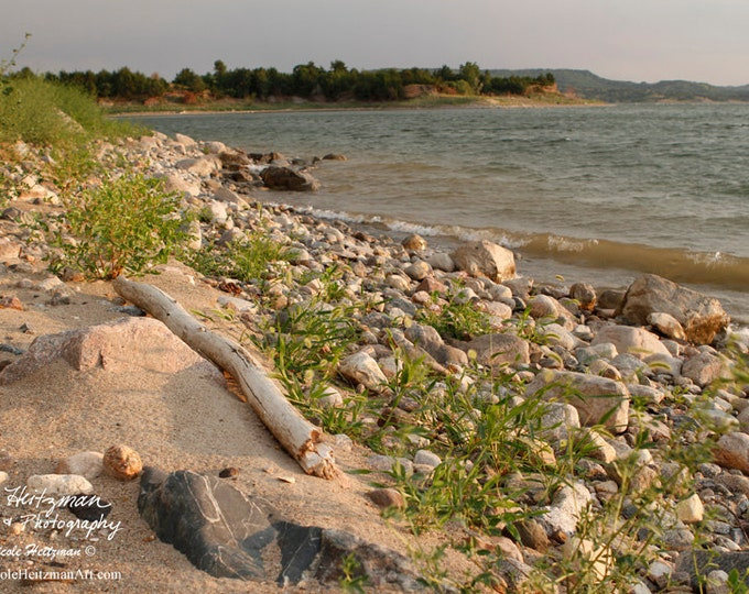 Missouri River South Dakota Beach Photography River Photo Shoreline Photo Camping Fishing Nicole Heitzman Photo Gallery Wrap Canvas Print