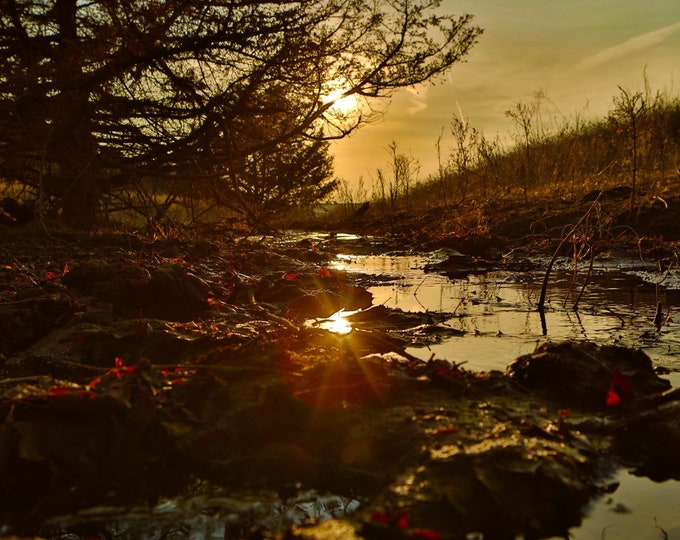 South Dakota Spring Stream Sunset Reflection Photography Metal Print Country Scenery Sun Rays Photo Housewarming gift by Nicole Heitzman