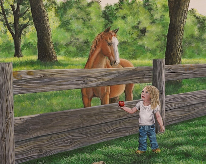Friends Horse painting birthday gift for cowgirls Horse Print Horse Art Horse Decor Wester Decor Cowgirl Art Girl and horse Canvas print