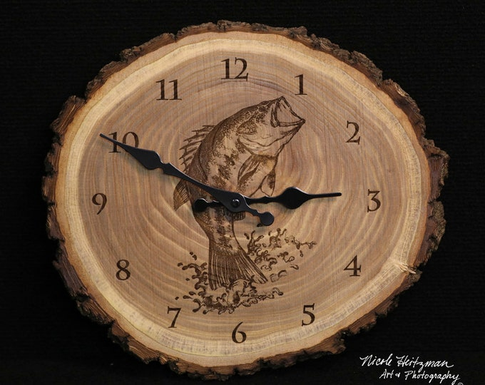 Bass Art Engraved Wood Clock Father's Day Gift for men Christmas gift Fishing gifts for him Lodge Cabin Man Cave Decor Fish Art by Heitzman