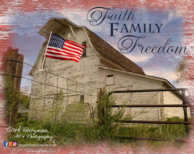 America-Faith Family Freedom-Hardbaord Photo Saying