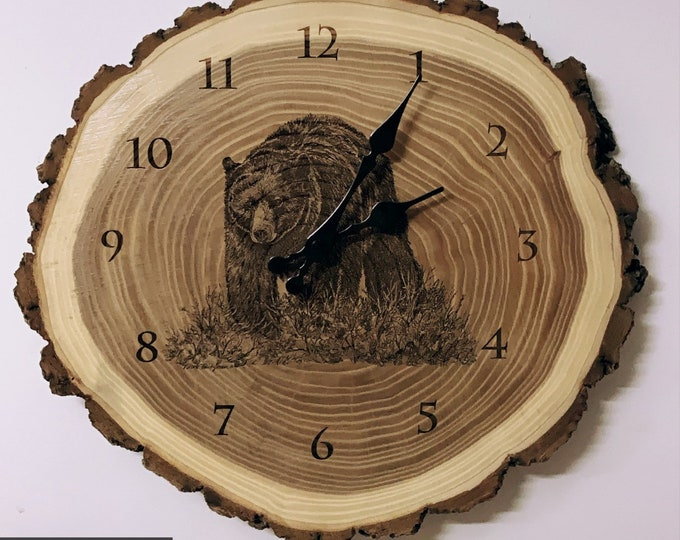 Engraved Wood Clock Black Bear Art Bear Clock Wood art Father's Day gift for Dad men him Lodge Cabin Wildlife Art Man cave Nicole Heitzman
