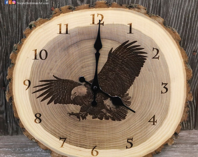 Engraved eagle art wood clock USA art Patriotic art Father's Day gift for Dad men Lodge decor Cabin Art Man cave decor bird of prey