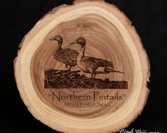 Northern Pintails Duck Art Duck Coaster Wood coasters Father's Day gift for Dad men hunter Lodge decor Cabin Man Cave Decor Nicole Heitzman