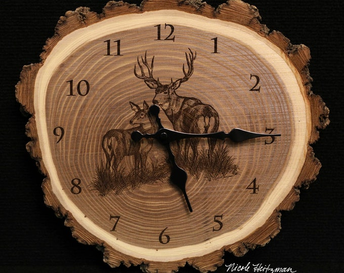 Mule Deer Buck and Doe Clock deer hunting art Engraved Wood Clock Wildlife art Father's Day gift for Dad men Lodge decor Cabin Art Man cave