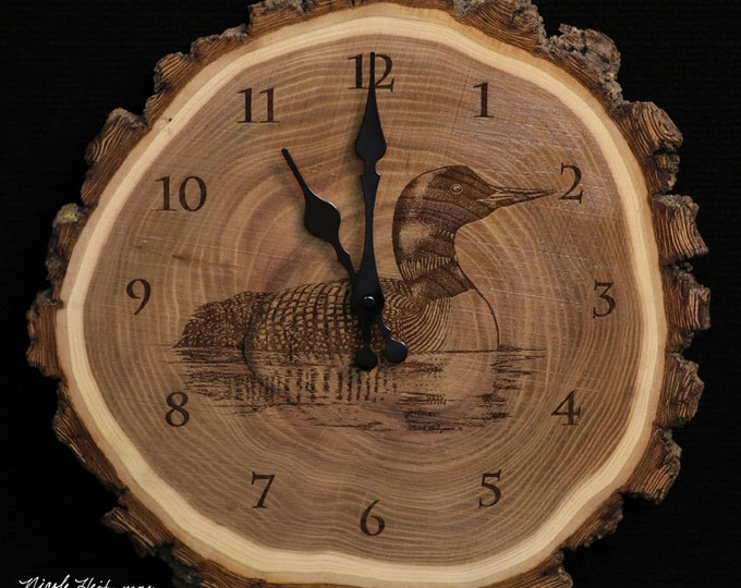 Loon Art engraved Wood Clock Father's Day gift for Dad men Waterfowl Art Loon decor Lodge Cabin Man Cave Rustic Decor by Nicole Heitzman