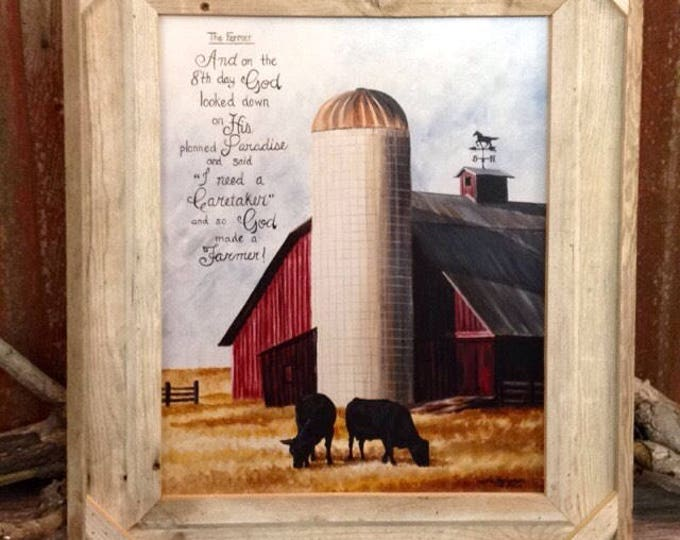 Farmer saying fathers day gift for dad Farm print Farming Art Barn Farm painting Cow Art Cattle Painting Barn Art gift for men Silo Farm sce