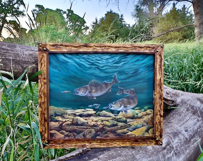 Anticipated Catch Walleye Print Fish Art Walleye Painting Gift for Dad Fishing Art River Art Gift for Men Women Limited Edition Canvas print