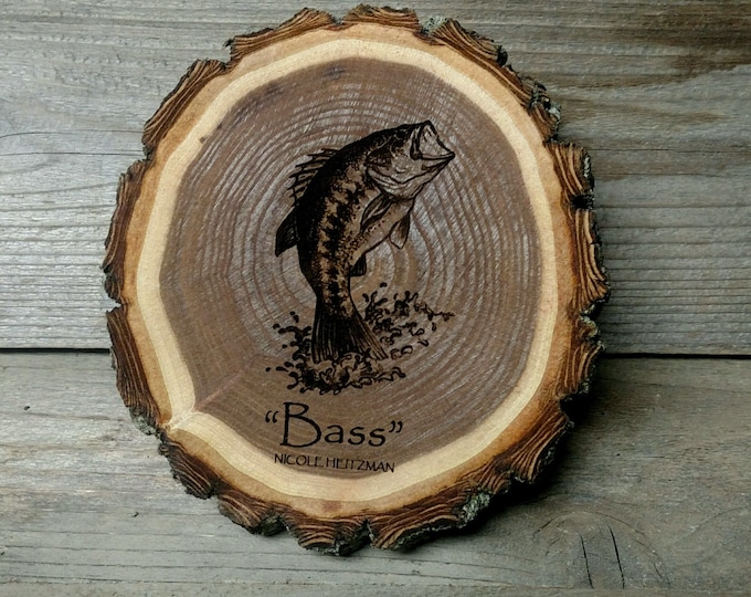 Father's Day Gift for men Dad Christmas gift Fishing gifts largemouth Bass Art Wood Coasters Lodge Cabin Man Cave Decor Fish Art by Heitzman