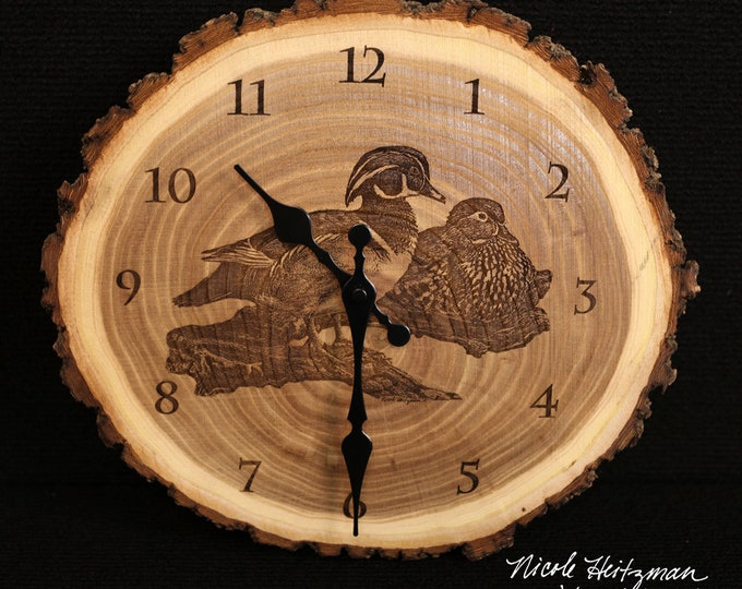 Wood duck Art Engraved Wood Clock Waterfowl Wildlife art Father's Day Christmas gift for Dad men Lodge Cabin Man cave waterfowl duck hunting