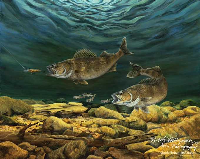 Anticipated Catch Walleye print fish art walleye painting Gift for Dad Fishing Art River Art Gift for fishermen women Canvas print cabin art