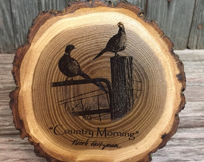 Country Morning Pheasant Coaster Father's Day Gift for men Pheasant hunting Art Lodge decor Cabin Man Cave Decor Wood Coaster