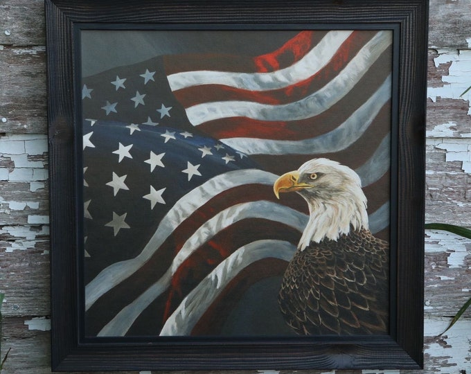 Eagle art Boundless Territory Flag Patriotic USA painting America Gift for soldier men women Wildlife Art Metal Art Print Nicole Heitzman