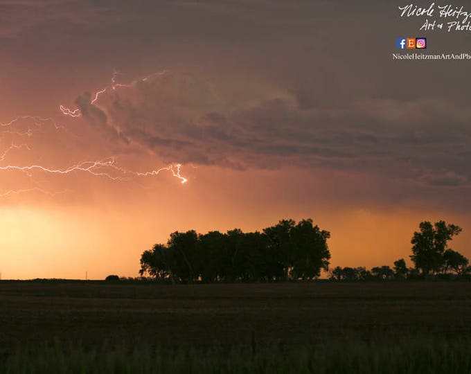 Father's Day gift for dad him Lightning Thunderstorm Photography Storm Photo Man Cave Garage Art South Dakota HDR Photo by Nicole Heitzman