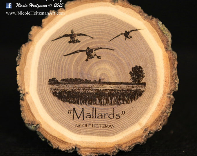 Mallard Art Wood Coasters Duck Art Duck Coaster Father's Day Gift for men Dad Hunter Wood Art Lodge decor Cabin Decor Man Cave Decor