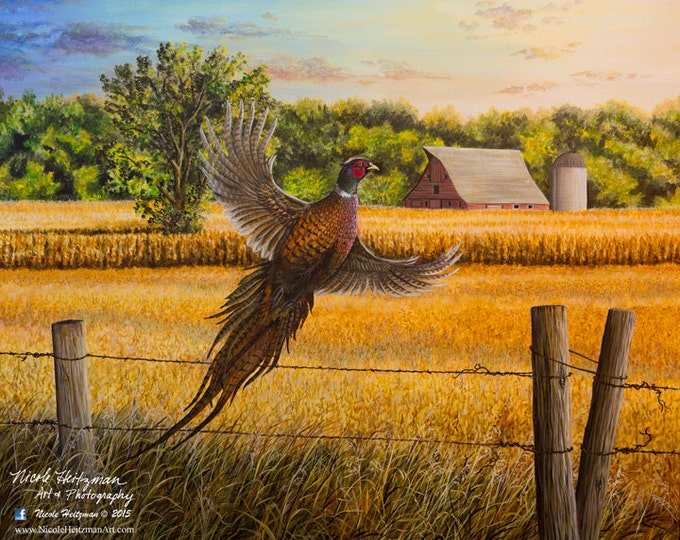 Pheasant Hunting Father's Day Gift Homestead Heritage Farm Painting Gift for Dad Ring-necked Pheasant Art Wildlife Print by Nicole Heitzman