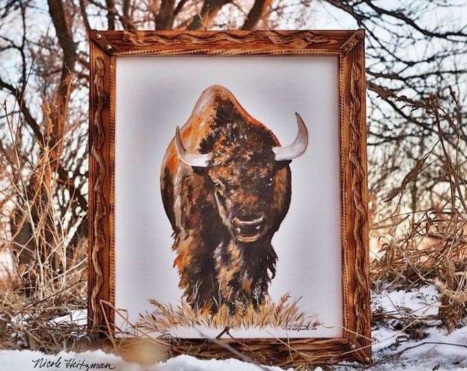 Buffalo portrait Painting Father's Day gift for dad men him Buffalo Print Bison Art Decor South Dakota Art Canvas print by Nicole Heitzman