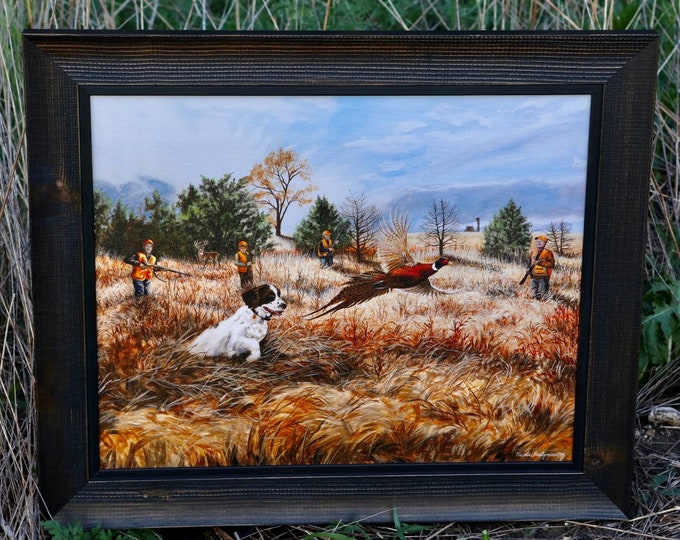Stories from the Field Ringneck Pheasant Hunting Art Painting Father's Day Gift for men Dad hunter Wildlife Art Canvas Print Nicole Heitzman