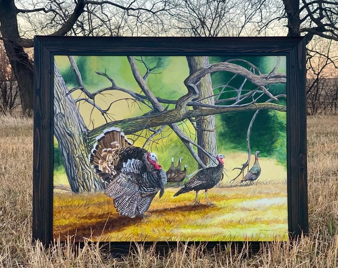 Cottonwood Gang Turkey Painting Father's Day Gift for men Turkey Hunting Art Turkey Print Limited Edition Canvas print by Nicole Heitzman