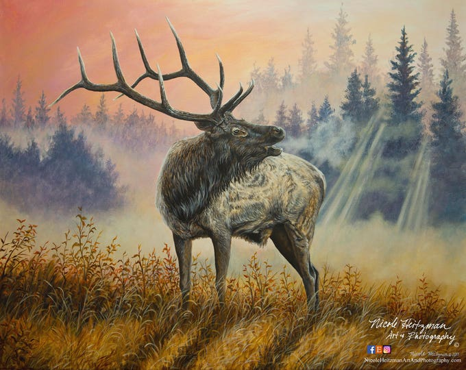 Untamed Defender Elk Art Father's Day gift for Dad Elk Print Elk Painting Elk Hunting Scene elk hunting art Canvas print by Nicole Heitzman