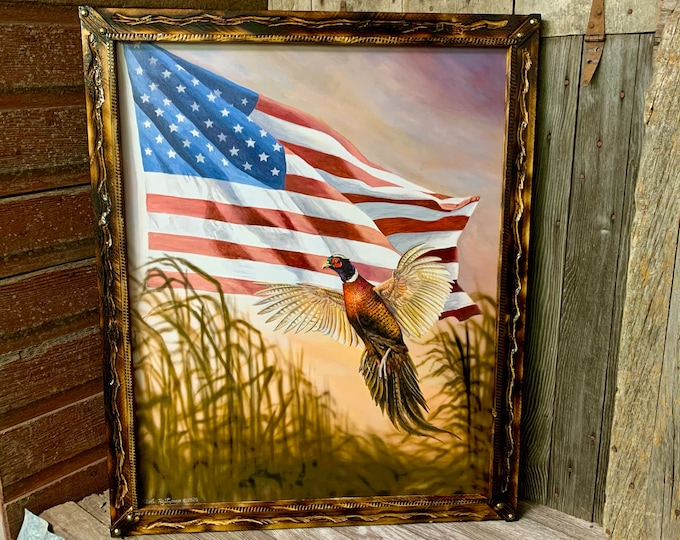 Dakota Freedom Pheasant Print USA America Flag Art Pheasant Painting Wildlife art Man Cave Art Limited Edition Canvas print Nicole Heitzman