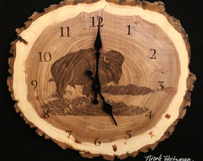 Engraved Wood Clock Buffalo Art Buffalo Clock Wood art Bison Tatanka Father's Day gift for Dad men him Lodge Cabin Wildlife Art Man cave