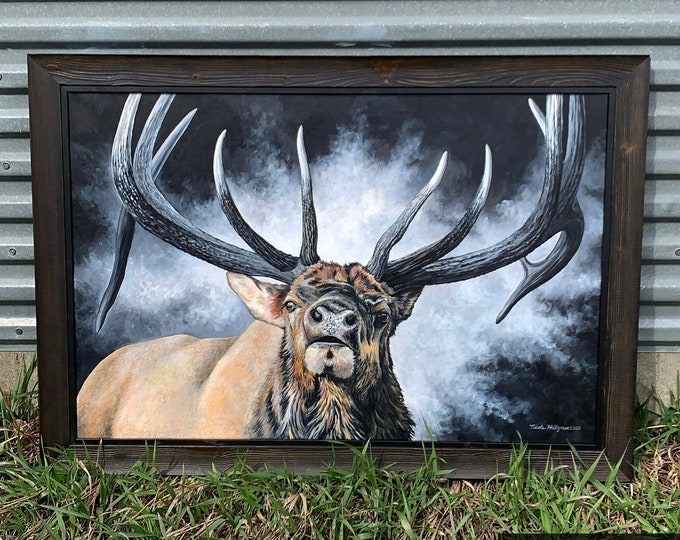 The Legend bull Elk painting Wildlife Art Father's Day gift for Dad hunter Elk Hunting Limited Edition Canvas Giclee print Nicole Heitzman