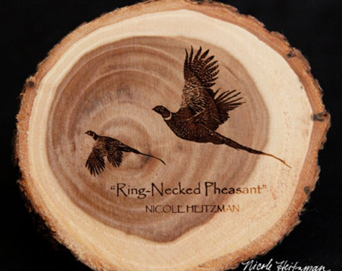 Pheasant hunting Art Pheasant Coaster Lodge decor Cabin Man Cave Decor Wood Coasters Christmas Father's Day Gift for men by Nicole Heitzman