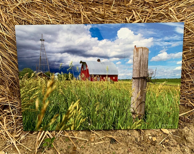 Thunderstorm Barn Photo windmill Photography Gift for Farmer Dad Men Mom Country Decor Farm Scenery Farmstead Art Print by Nicole Heitzman