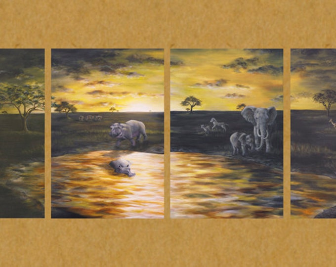 Safari Art African Savanna Elephant Art Zebra art Rhinocerous art Giraffe Art Lion art Scanning the Savanna Paintings by Nicole Heitzman