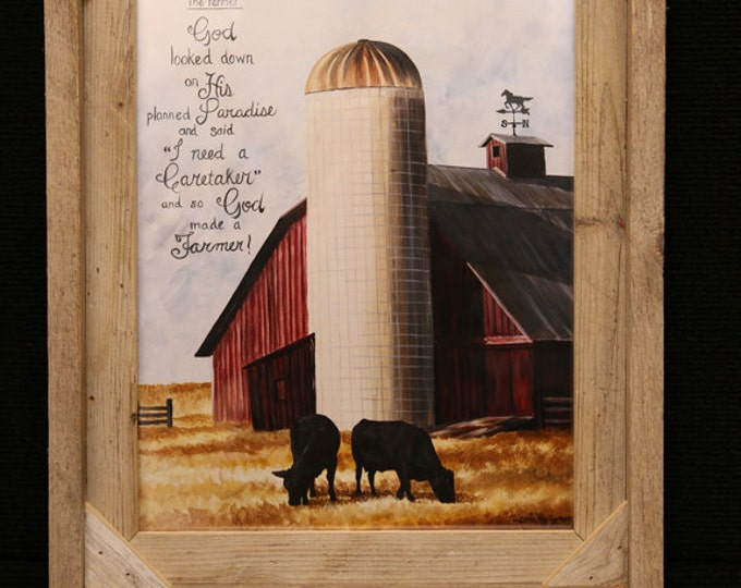 The Farmer painting Father's Day gift for men dad Rustic Farming Art print Barn painting Cow Art Cattle Painting Barn Art farmhouse decor