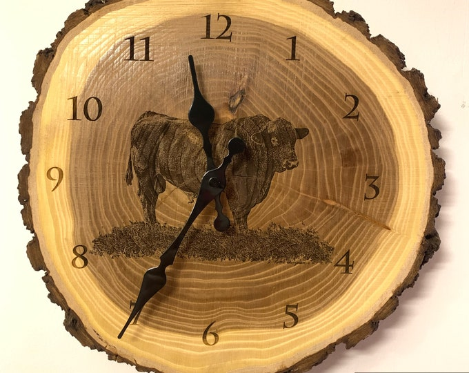Angus Bull Art Engraved Wood Clock Angus Clock Cattle clock art Father's Day gift for Dad men farmer livestock Art Man cave farming art