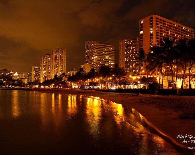 Oahu Hawaii Photo City Reflection Night scene Ocean photography Honolulu city photo Waikiki Beach Photography Metal Print by Nicole Heitzman