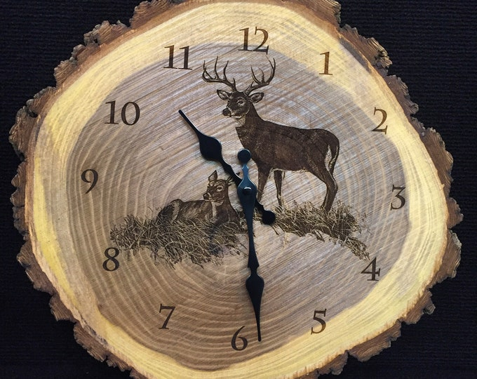 Engraved Wood Clock White-tailed deer Art Deer Clock Wildlife art Father's Day gift for Dad men Lodge Cabin Art Man cave deer hunting art