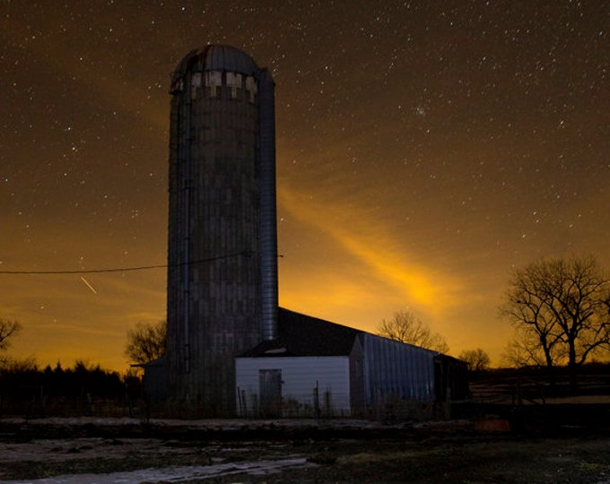 Stars and Farm scenery starry sky Astronomy Celestial Night silo photo gift for dad Metal Print South Dakota farming photography farmhouse