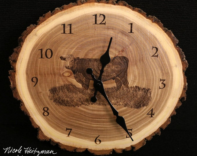 Hereford Art Engraved Wood Clock Hereford Clock Cattle clock art Father's Day gift for Dad men farmer farmhouse Art Man cave farming art